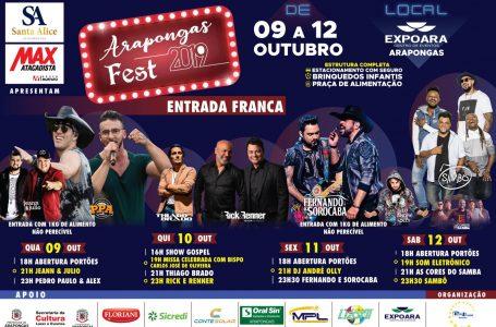Começa hoje o 3º Arapongas Fest com diversas atrações e shows gratuitos